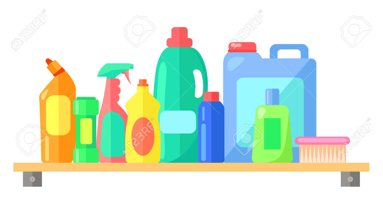 Cleaning tools, collection of bottle with laundry detergent, toilet cleaner, cleanser, spray for cleaning window or glass, brush, container with liquid for washing clothes, dishwashing liquid - 152719606
