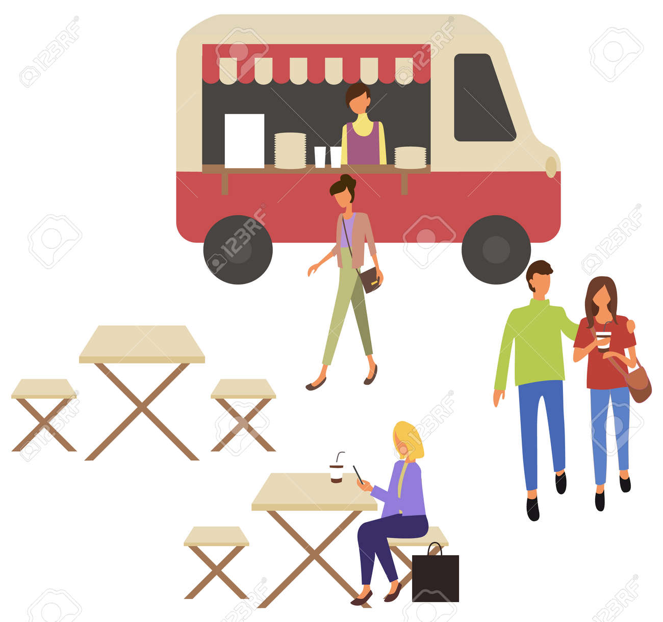 Fast Food Truck Takeout Food Shop And Cafe With Takeaway Dishes Royalty Free Cliparts Vectors And Stock Illustration Image 153681354