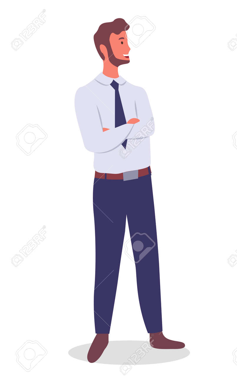 Smiling man young businessman dressed in shirt and tie standing crossed his arms over his chest at full height on white. Businessperson male character in formal clothes office worker or employee - 156577035