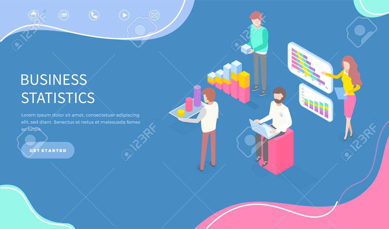 Expert team for business statistic, data analysis, management and marketing department. Landing page template. Financial administration consulting for company performance analyzis concept statistics - 158690053