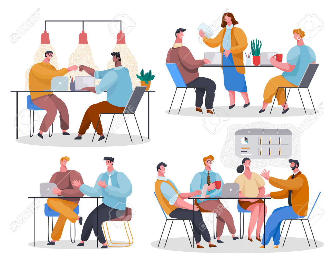 Set of office staff. Woman reading document. Colleagues give 5 at desktop. Employees discuss project. The team listens to leader, communicate, chat, gossip. Cartoon vector characters in office - 159457557