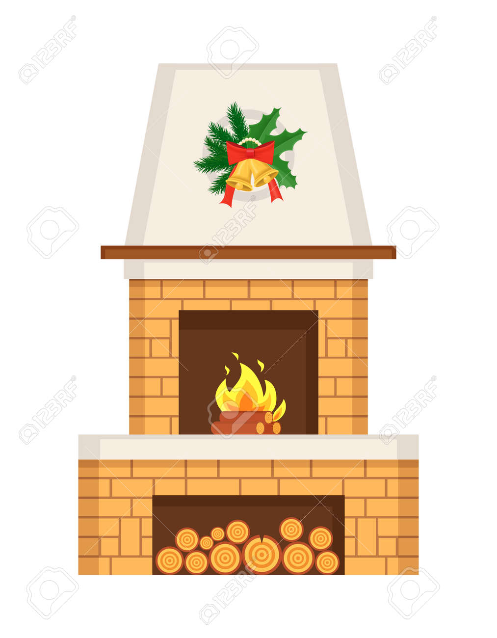 Fireplace home interior decorated for Christmas vector. Winter holiday decoration, mistletoe leaves and bell with bow ribbons. Furniture with logs - 159903019