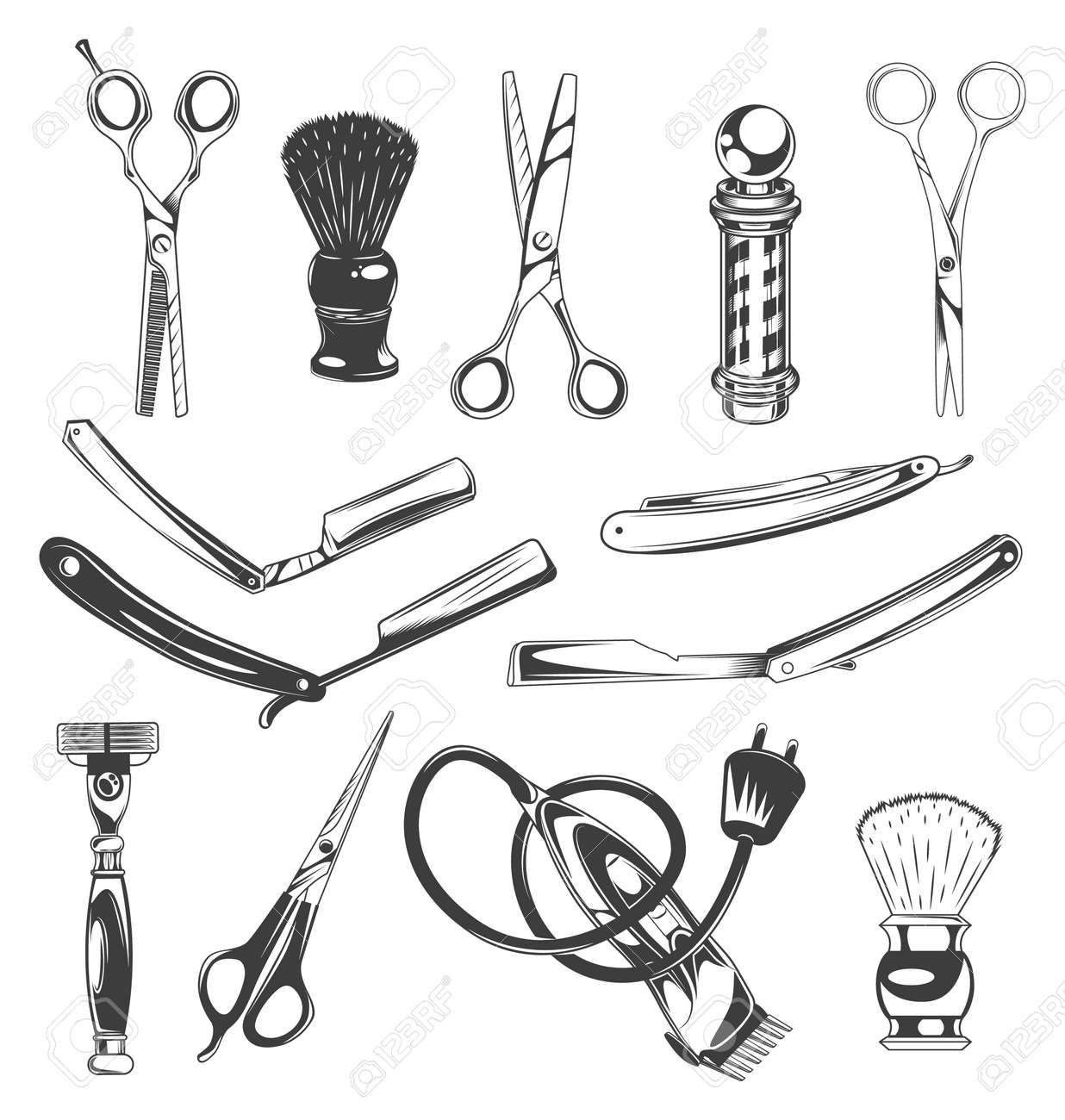 Set of barbershop tools, instruments, symbols. Different scissors for cutting hair, shaving brush, barber s pole, sharp razor blades for beard, shaver, electric razor. Barber professional equipment - 159903139