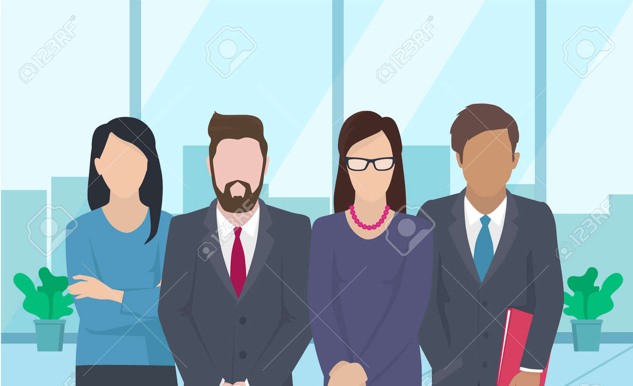 Business team ready to work. Teamwork. Coworkers characters communication. Team building and business partnership. Businessmen people cooperation collaboration. Office workers clerks standing together - 168085492