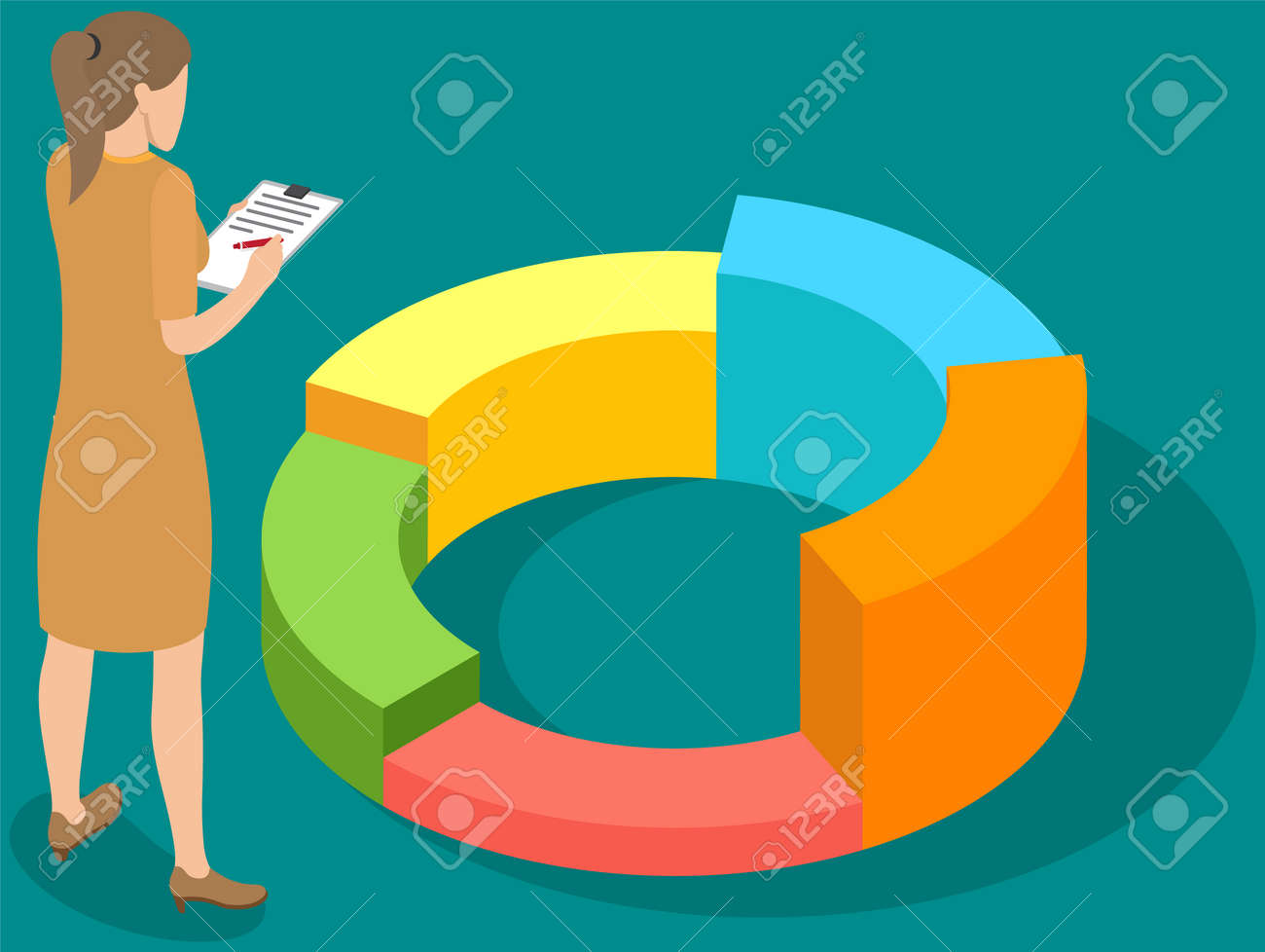 Visualize with business analytics. People work with statistical data analysis, changing indicators. Employees analyze statistical indicators, business data. Characters work with marketing research - 169492904