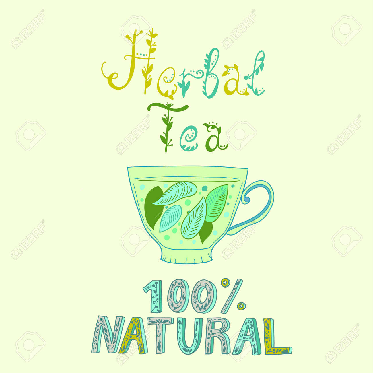 Hand drawn vector cup with herbal tea. Vector illustration - 154364633