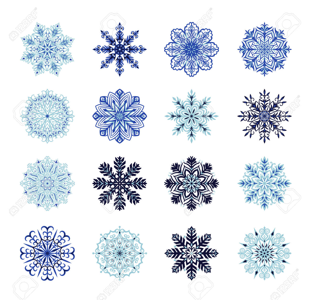 Big set with cute original snowflakes. Collection of vector winter Christmas and New Year decoration elements. . Vector illustration - 156249841