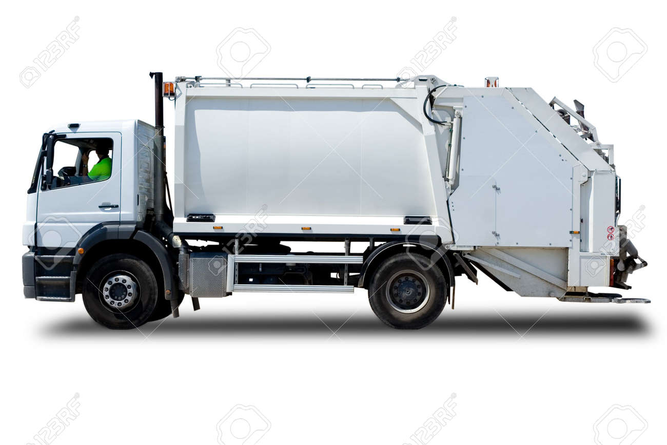 White Garbage Truck Isolated with a Driver Stock Photo - 4807066