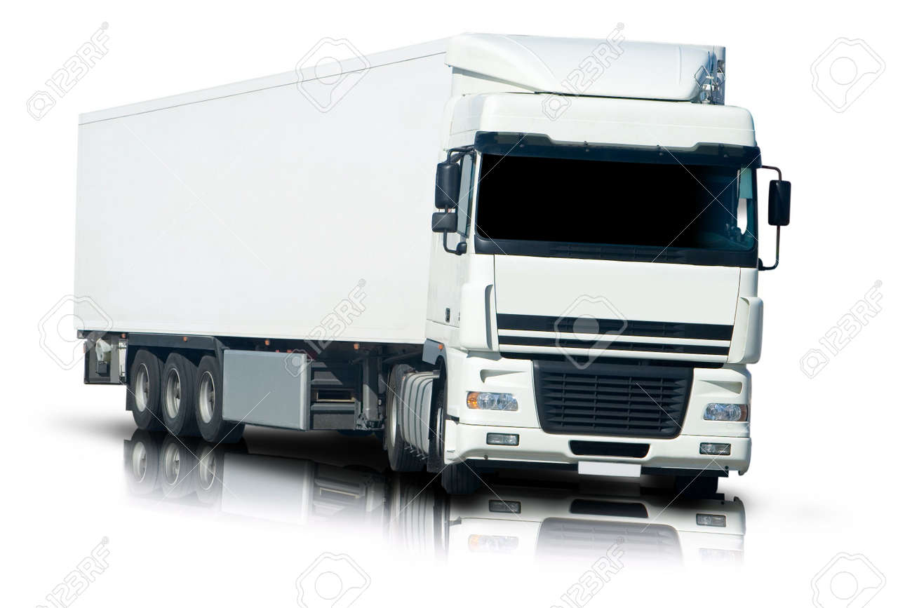 big white semi truck with reflection and isolated stock photo