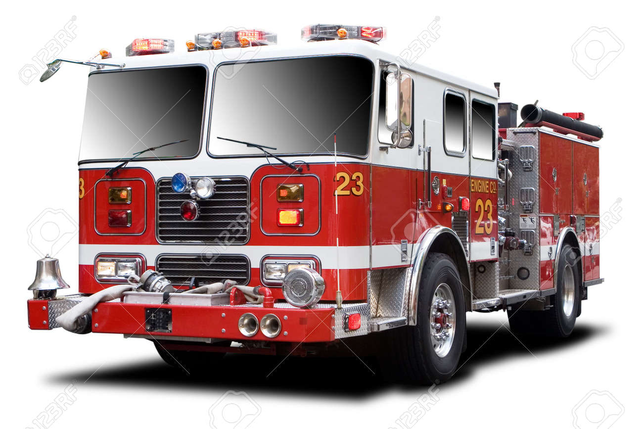 Big red fire truck isolated on white stock photo 5583456