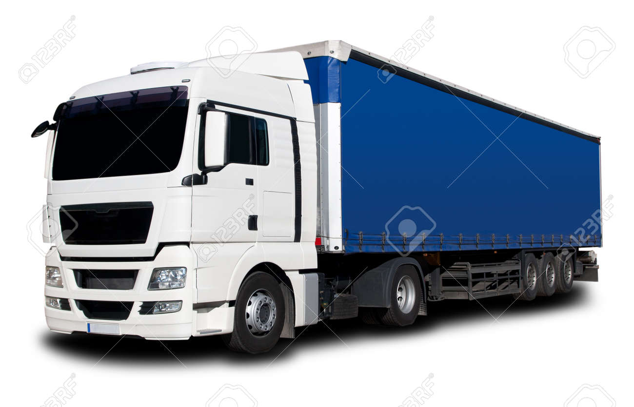 White Blue Semi Truck with Isolated Background Stock Photo - 8734210