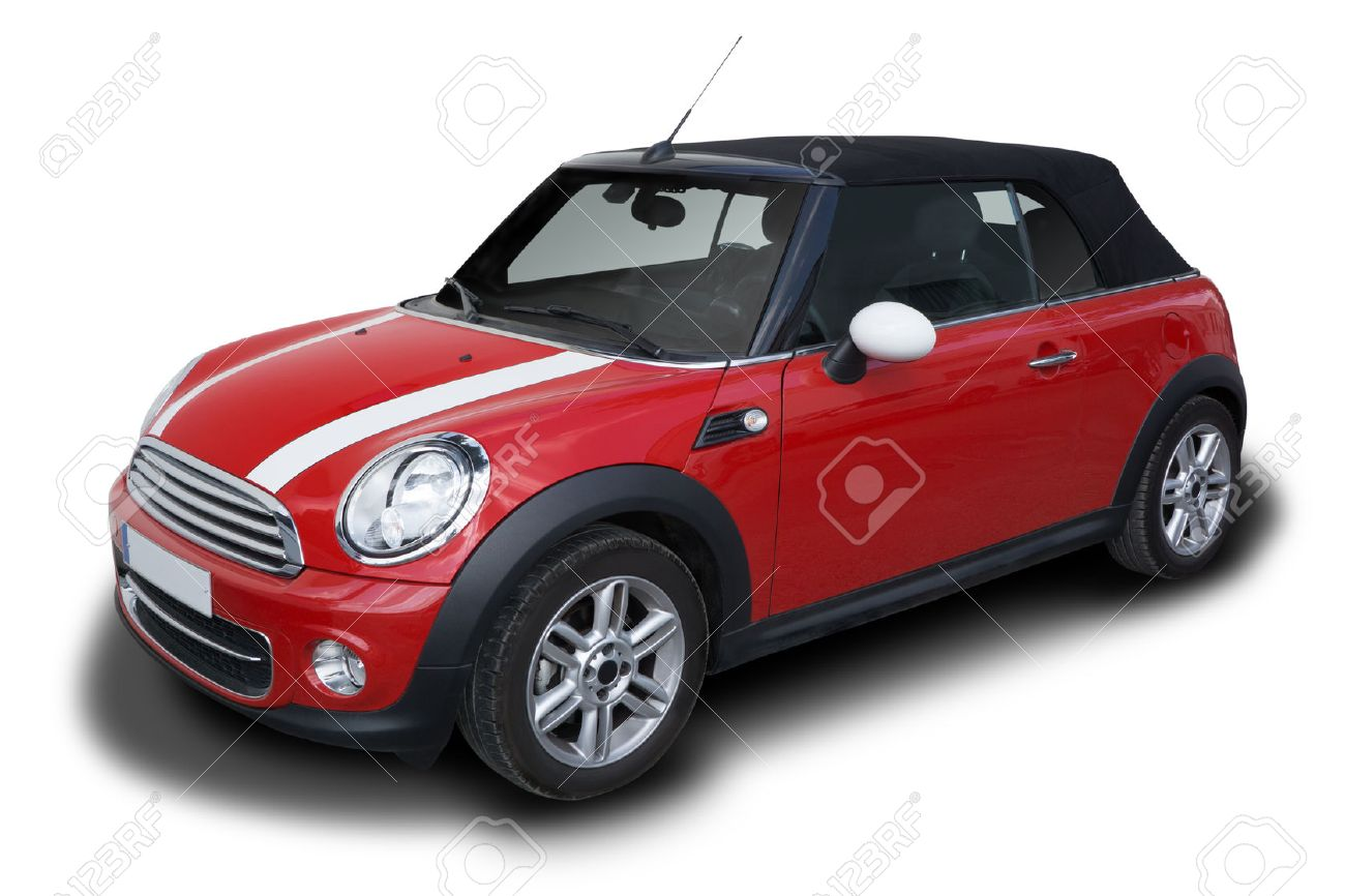 Red Mini Cooper Convertible Car Parked Isolated On White Background