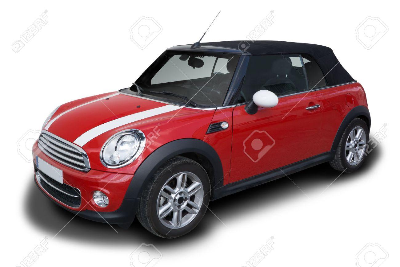Convertible Voiture Isolé Sur Fond Cooper Garée Blanc Rouge Mini EHD2W9I