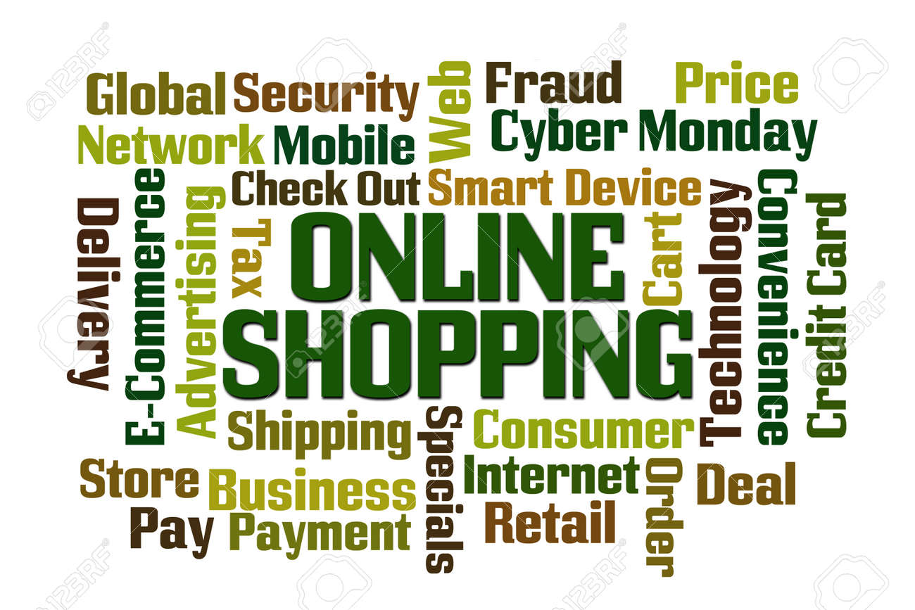 Online Shopping Word Cloud With White Background Stock Photo ...