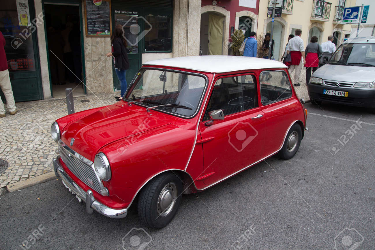 Lisbon Portugal May 28 2014 A Classic Mini Cooper Car Parked