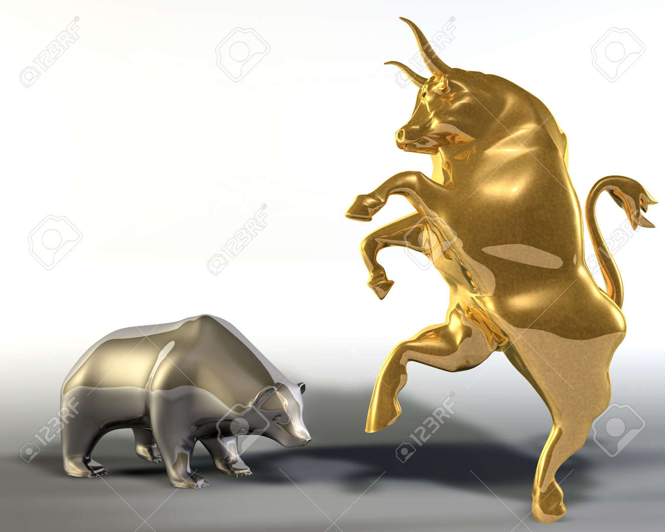 Digital 3d illustration of two statues representing a rampant golden bull and a bowed down bear Stock Illustration - 6843384