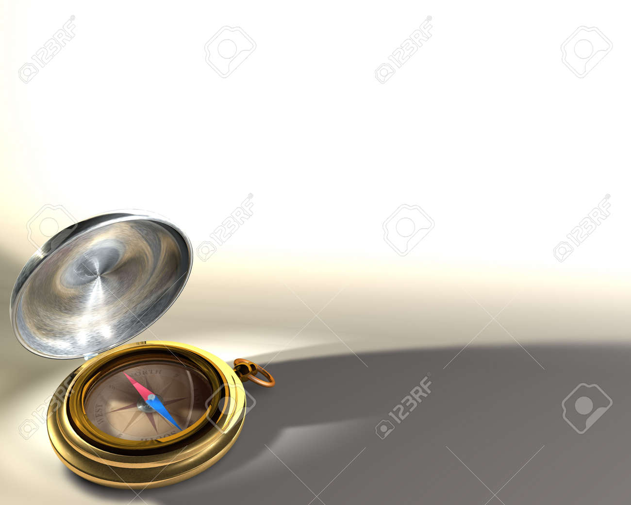 Opened compass on white background Stock Photo - 7059279