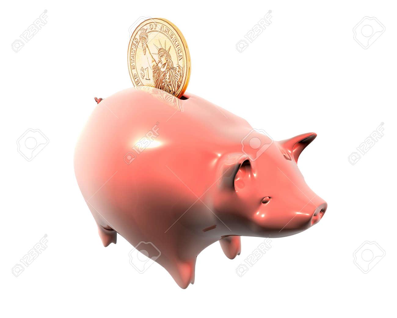 3d Illustration of piggy bank and one dollar on white background Stock Illustration - 8594783
