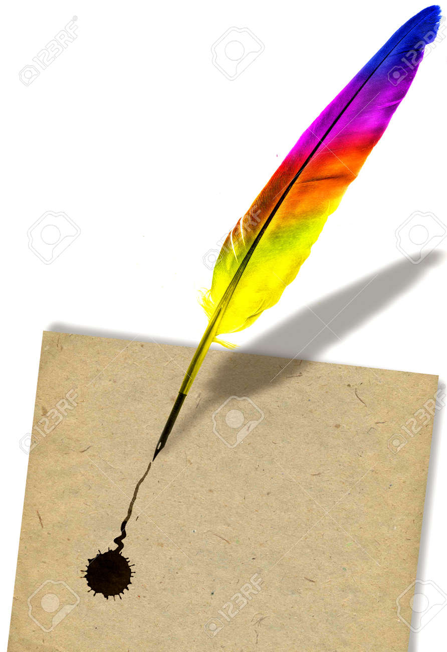Image Of Colored Feather Pen Writing On Paper Photo Picture – Colored Writing Paper