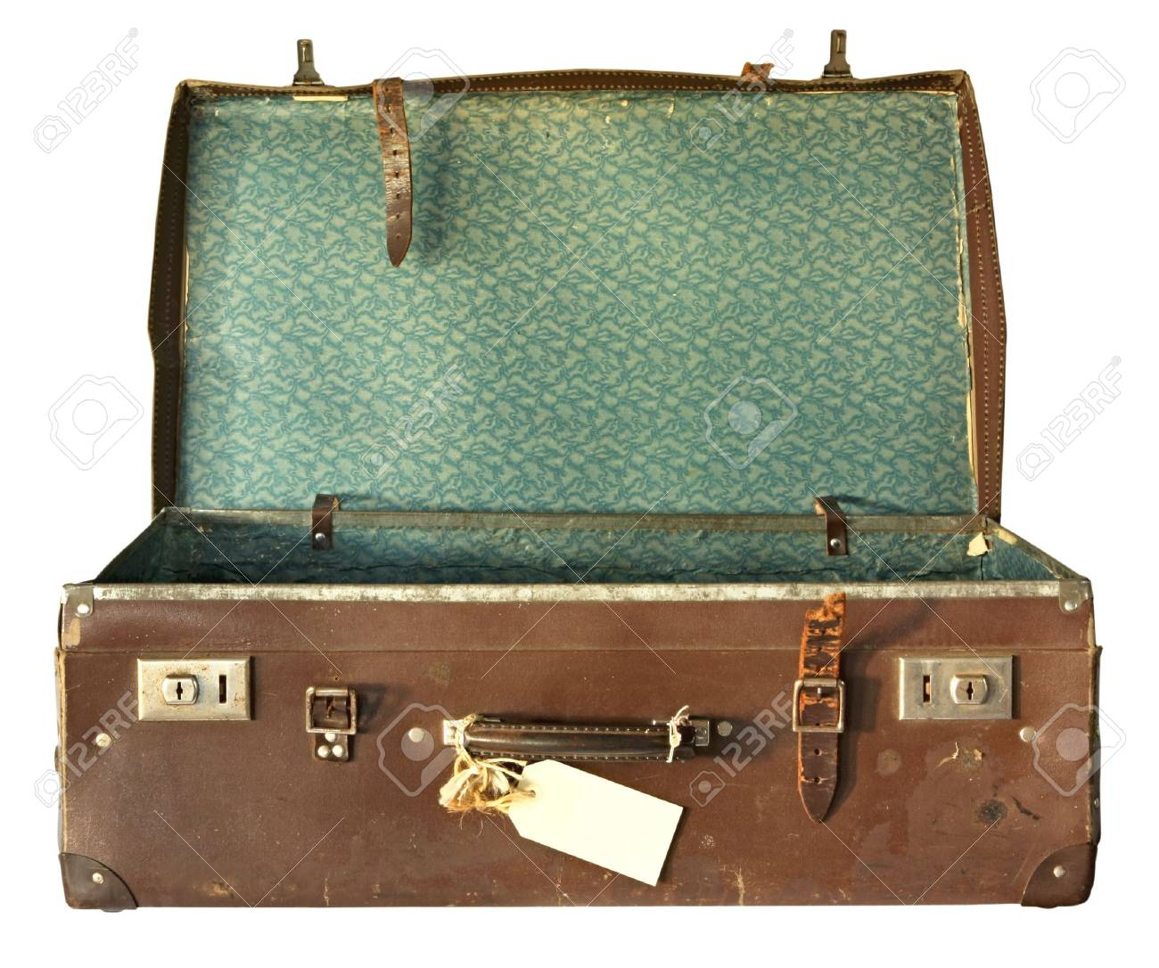 Vintage Brown Leather Suitcase, Open. With Clipping Path. Stock ...