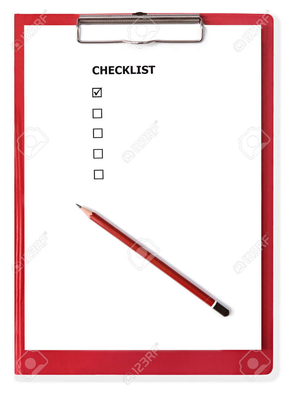 red clipboard with blank checklist stock photo, picture and royalty