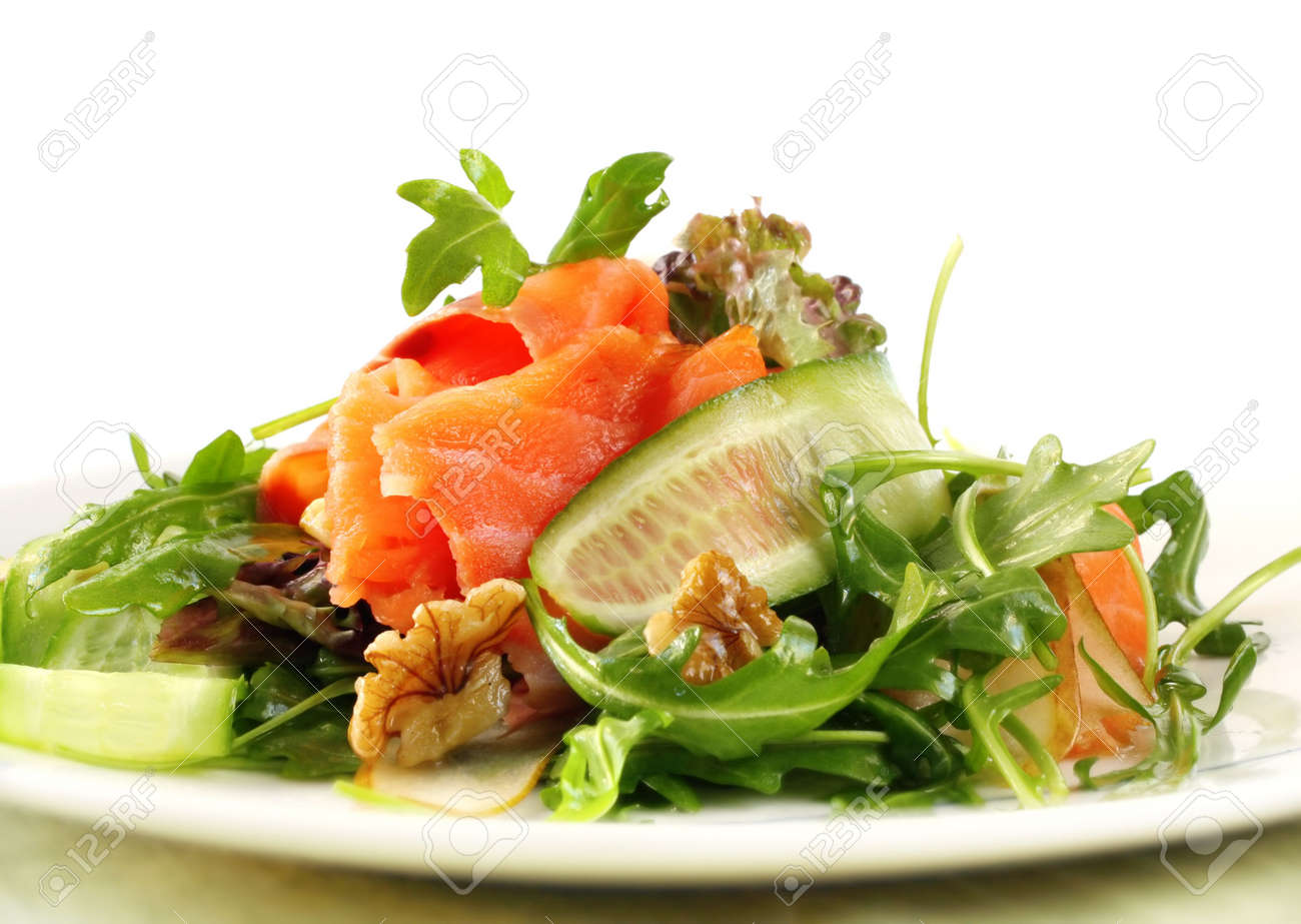 Salad With Smoked Salmon Walnuts Pears Cuber And Rocket Stock Photo
