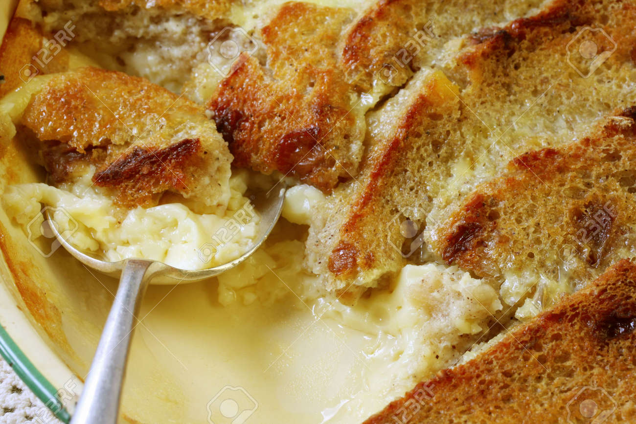 Traditional Dessert Bread And Butter Pudding Delicious Egg Custard Baked With Fruit Bread