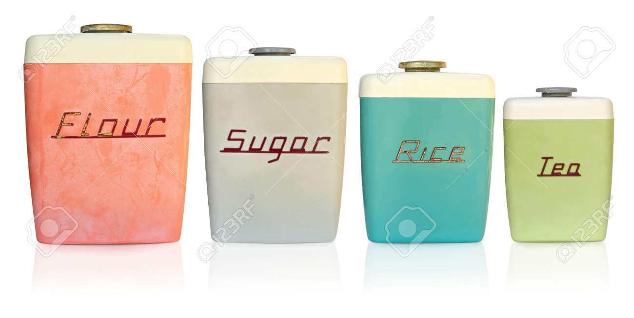 Retro 1950\'s Küche Lagerung Behälter Für Mehl, Zucker, Reis Und Tee ...