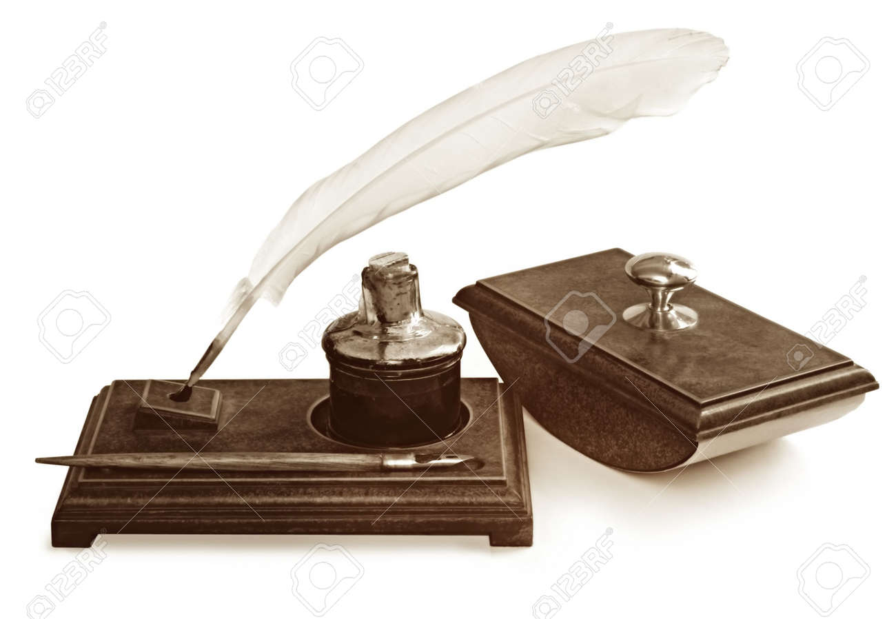 Vintage writing set, including feather quill pen, nib pen, ink well and blotter, on writing stand.  Isolated on white. Stock Photo - 3789148
