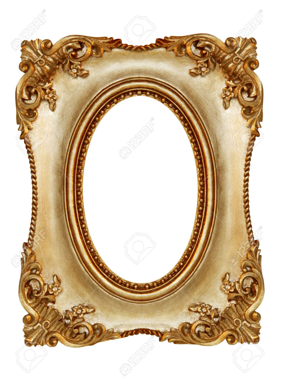 ornate gilt picture frame with oval opening stock photo 4390932
