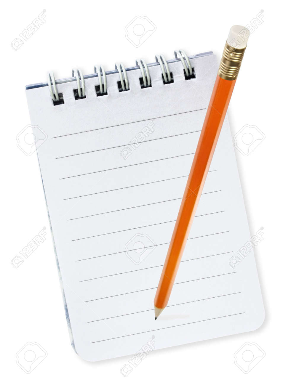 Pencil over spiral notebook, isolated on white. Stock Photo - 4597179