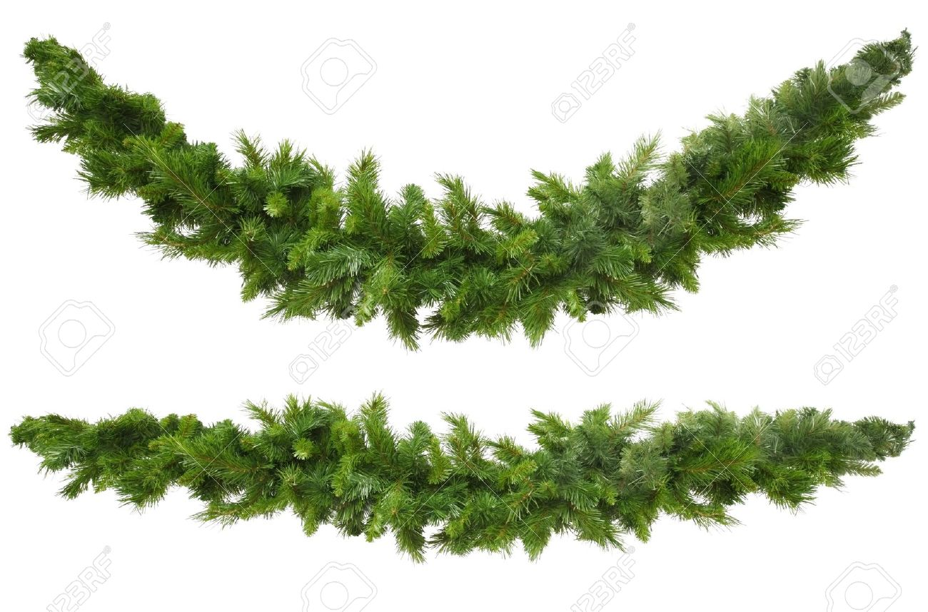 Christmas garlands decorations - Christmas Garlands Curved And Straight Isolated On White Ready For Your Own Decorations