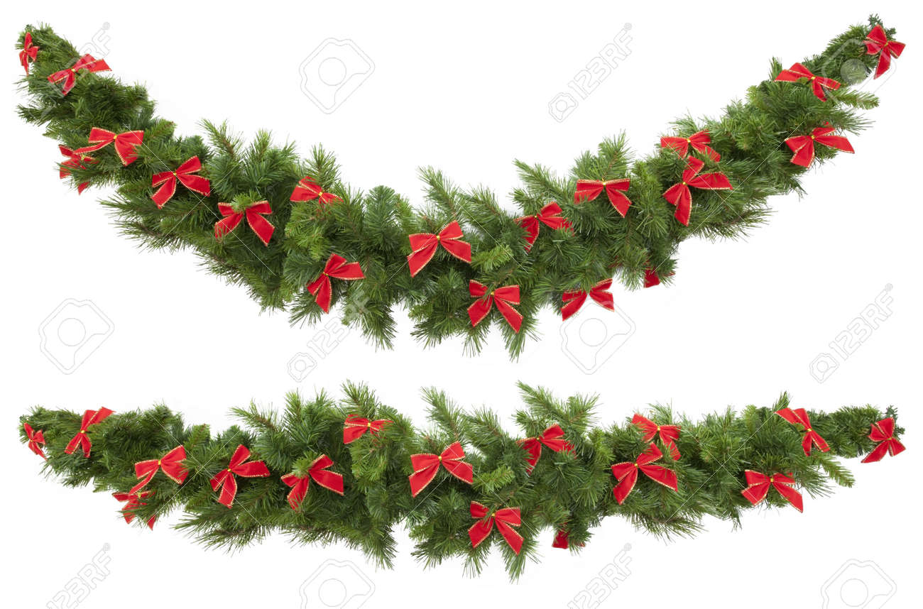 Christmas Garlands Decorated With Red Velvet Bows Isolated On