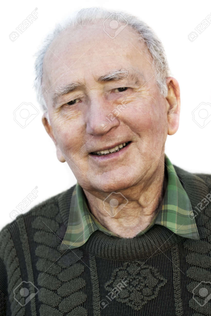 Excellent Portrait Of A Smiling Senior Man Over White Background A Fit Hairstyles For Women Draintrainus