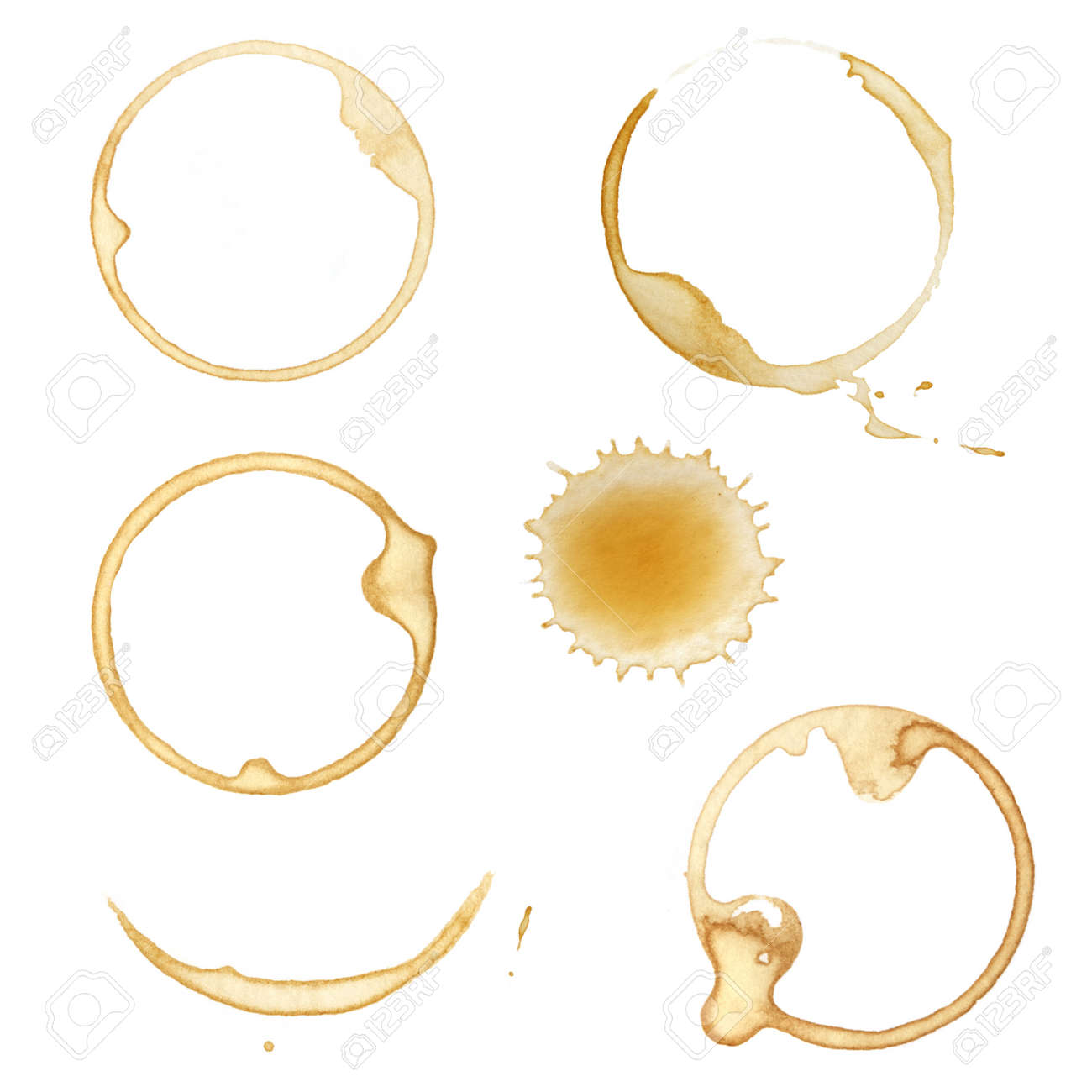 Coffee cup stains and splashes, isolated on white. Stock Photo - 5463036