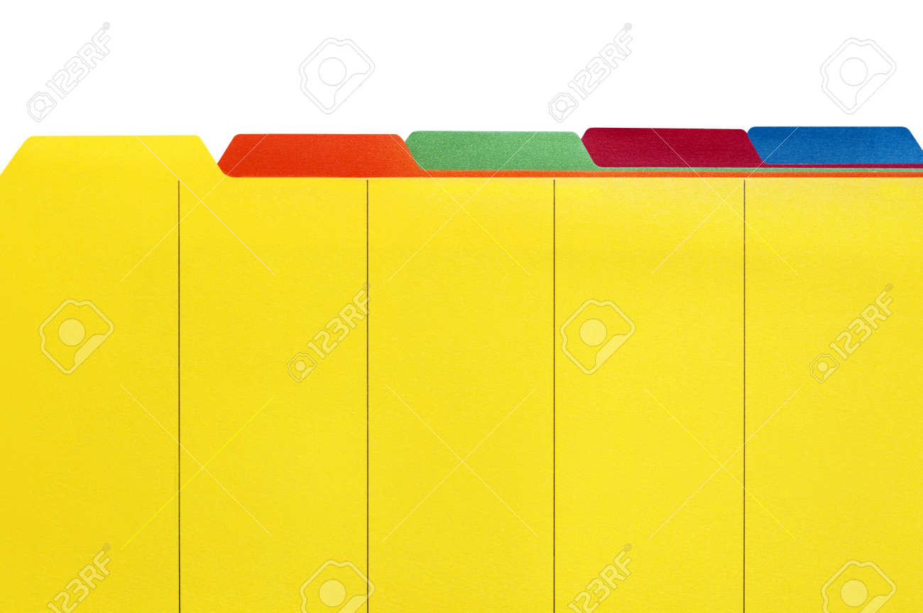 Vibrant File Divider Tabs, Ready For Your Own Labels. White ...