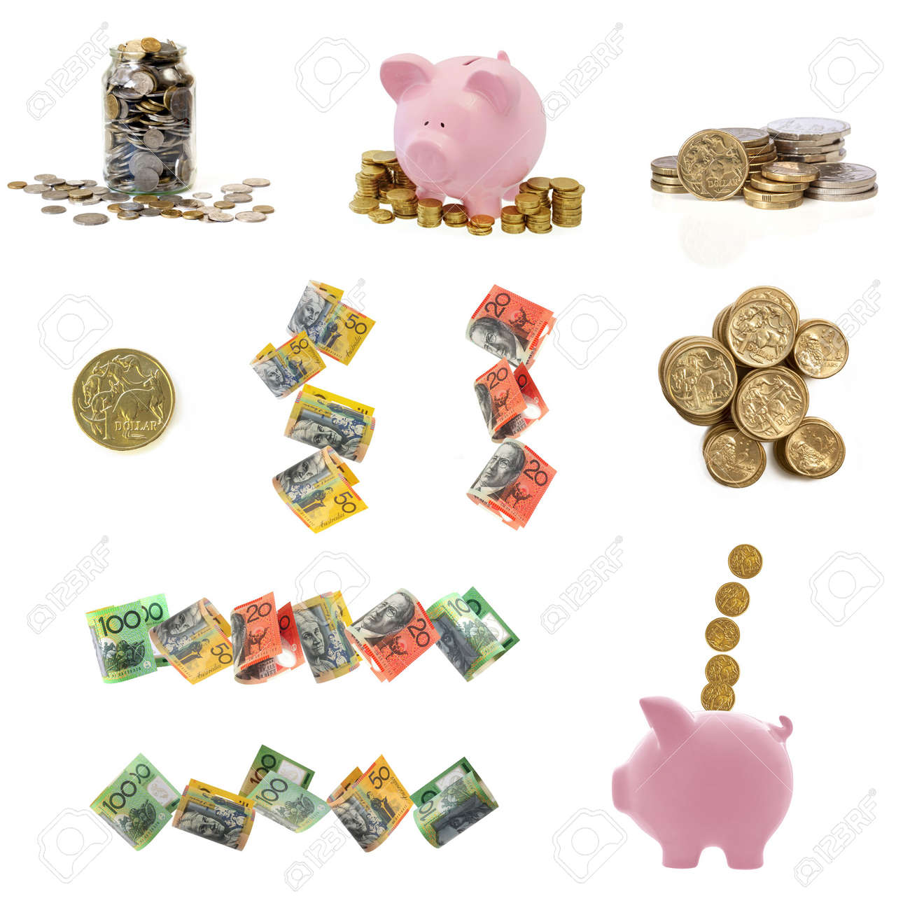 Collection of Australian money images, isolated on white. Stock Photo - 6196739