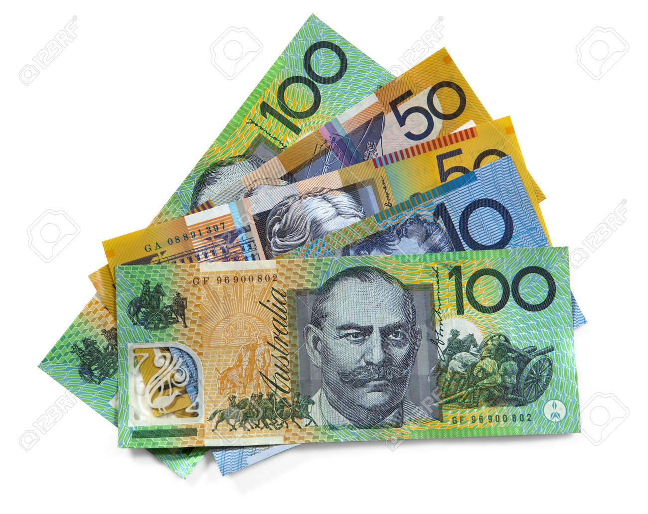 Australian money over white background.  Clipping path included. Stock Photo - 6440773