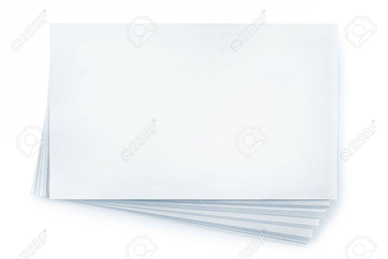 Stack Of Blank White Business Cards, Isolated On White. Plenty ...