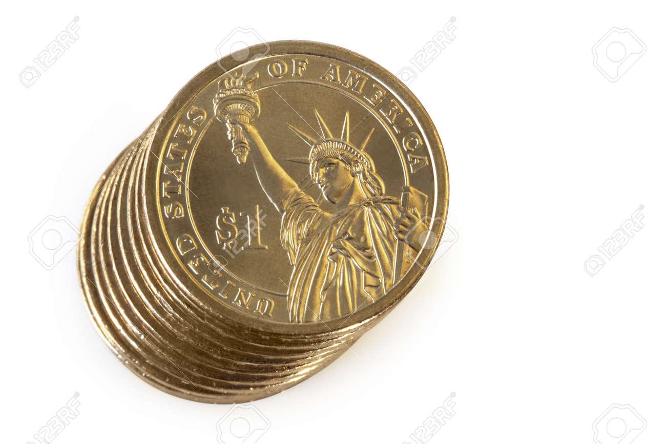 Stapel Von 1 Us Dollar Münzen Isolated On White Overhead Ansicht