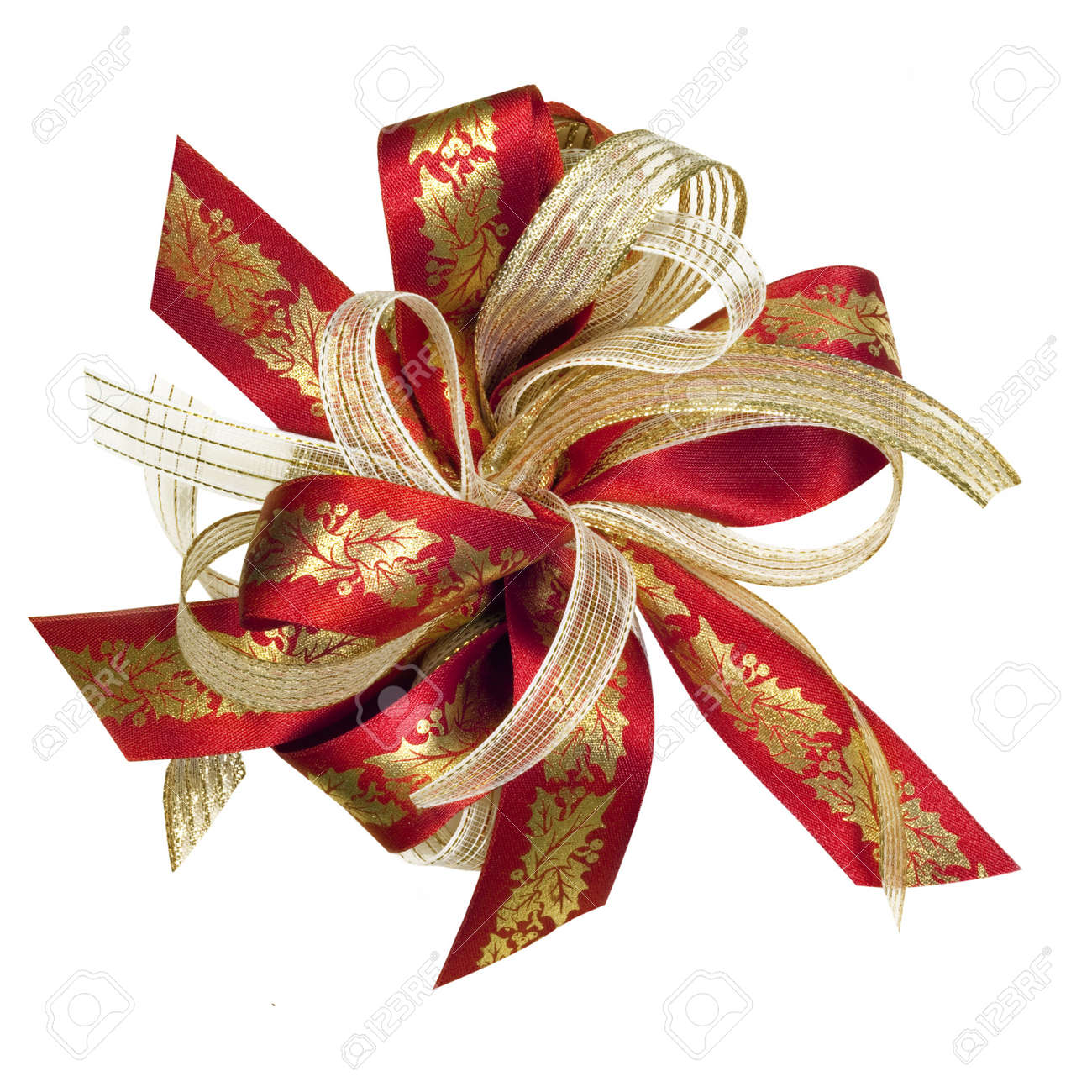 Red And Gold Christmas Ribbon Bow, With Holly Motif. Isolated ...