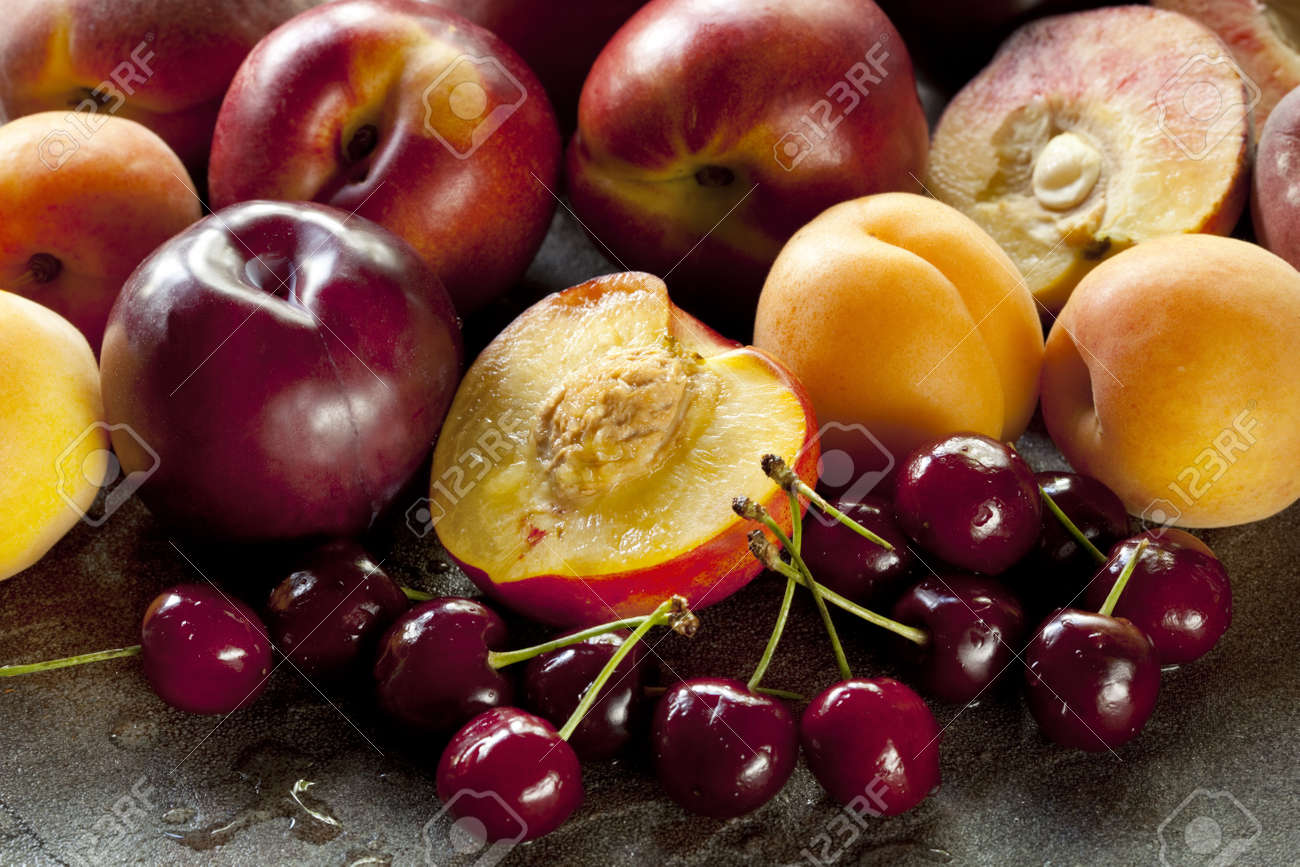 variety of stone fruits including apricots peaches nectarines