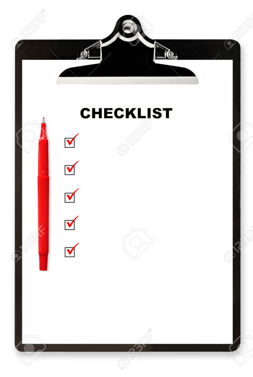 Checklist and red pen on clipboard, with boxes ticked.  Lots of copyspace. Stock Photo - 8794799