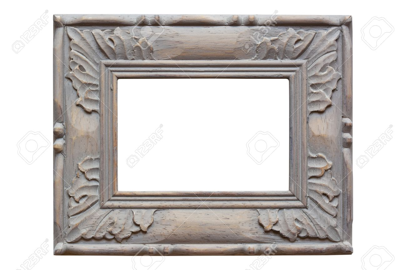 Carved wooden picture frame, with grey wash finish.  Isolated on white. Stock Photo - 9501936