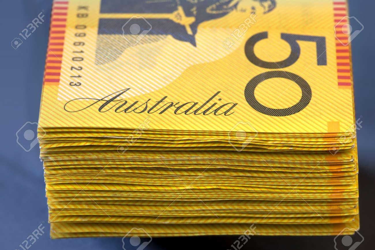 Stack of Australian fifty dollar bills.  Shallow focus. Stock Photo - 9673979