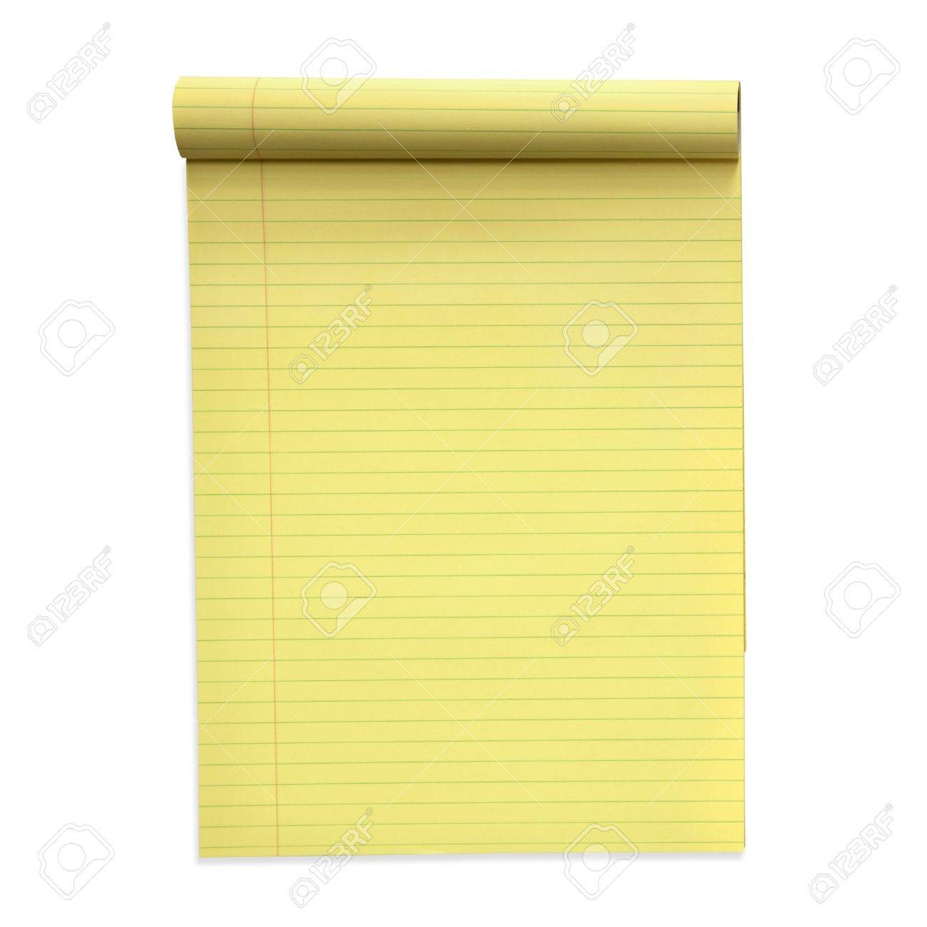 Yellow lined notepad, isolated on white.  Clipping path included. Stock Photo - 9887862