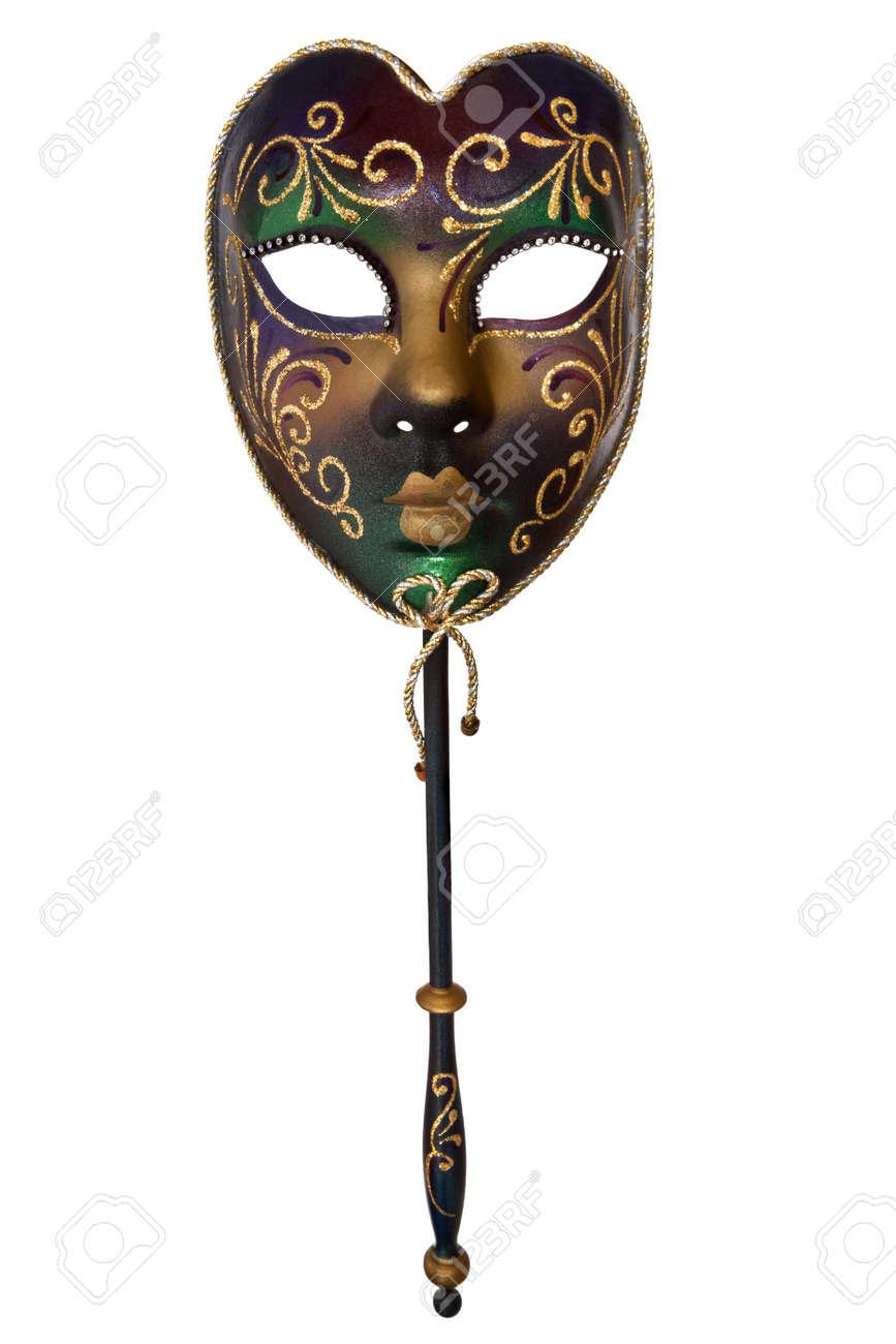Venetian mask with handle, isolated on white background. Stock Photo - 10027619