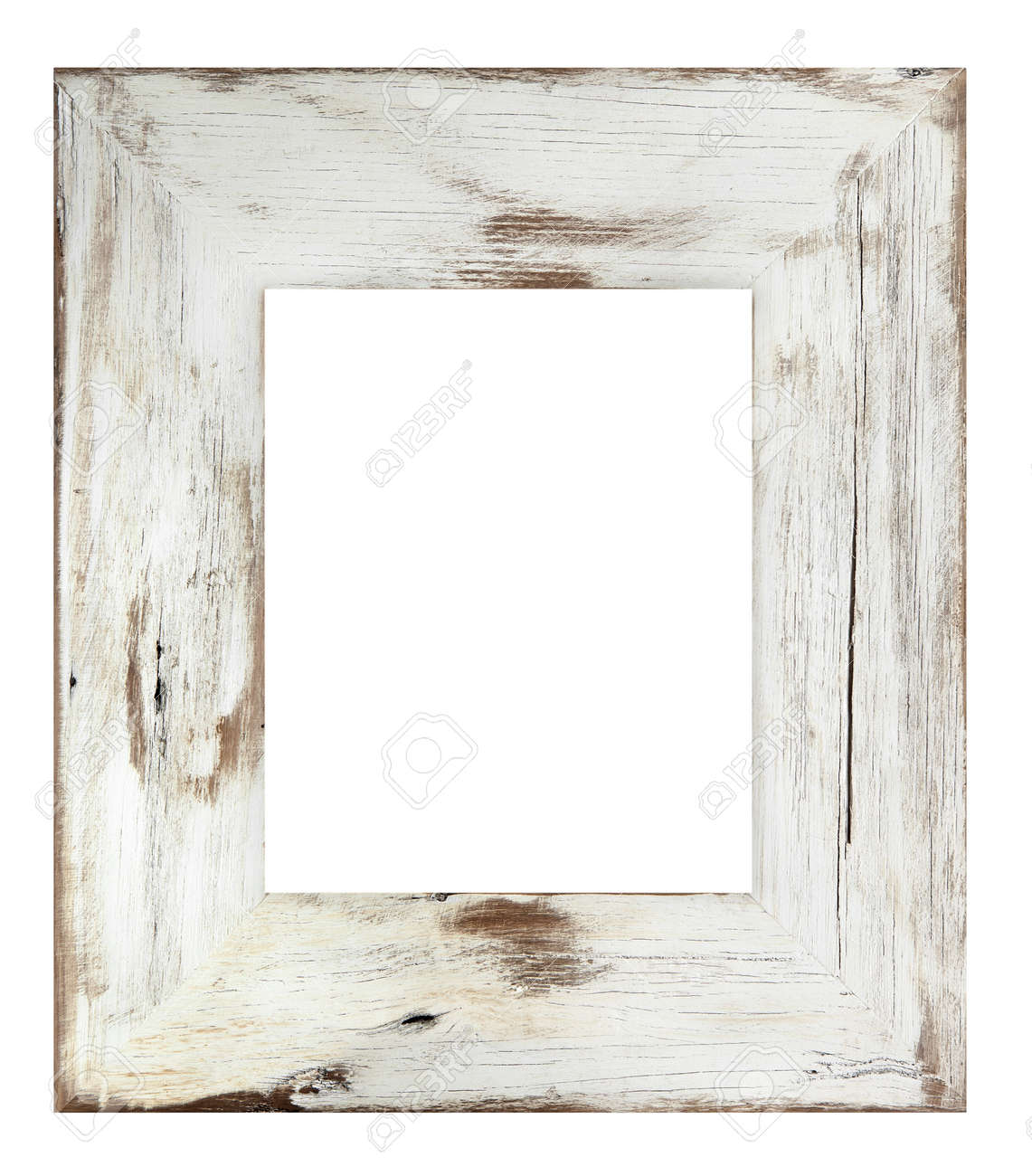 distressed white painted picture frame weathered white timber stock photo 10232924