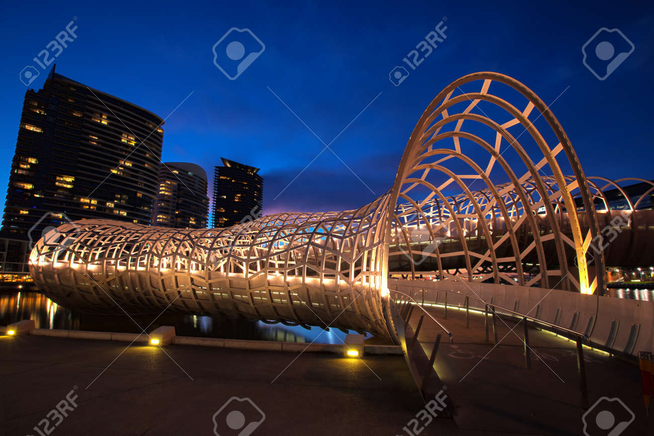 Webb Bridge, Docklands, Melbourne, Australia, at night. - 46840203