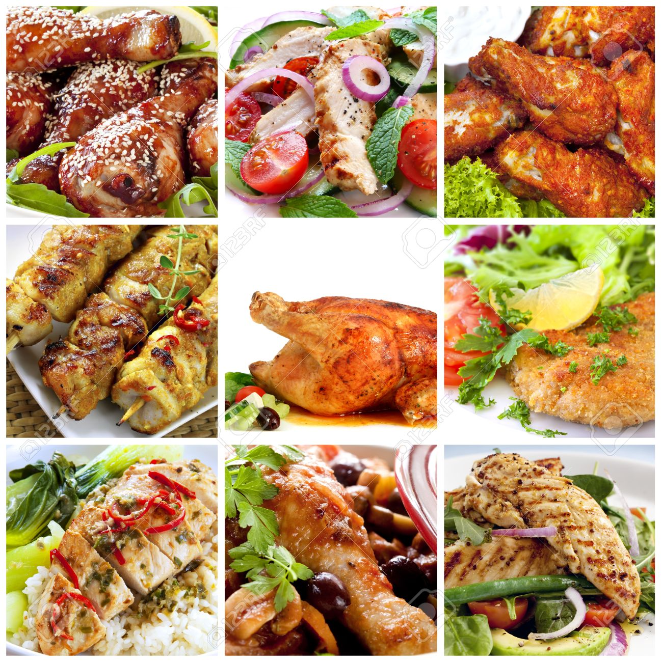 Collage Of Chicken Dishes Includes Honey Soy Chicken Drumsticks Salads Buffalo Wings